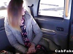 Slim amateur in pantyhose fucks in cab