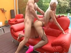 Bigtits Blonde Fucking On The Sofa Outdoor