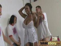 Ebony babe bukkake party 18