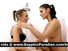 Angelic brunette lesbians kissing and having lesbian sex