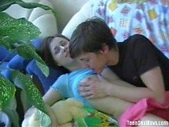 Russian teens have fun on sofa