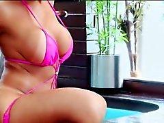 Huge tits tranny Sabrina Suzuki strokes cock until she cums