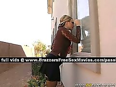 Naughty blonde woman gets in a house with two guys