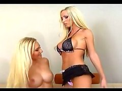 Two Busty Blonde Babe Toying The