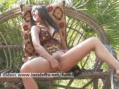 Mikah _ Amateur brunette masturbating with a vibrator outdoors