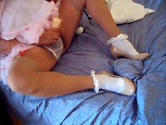Sissy dolled up in pink white ankle sox