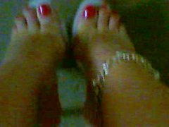 clear heels and red toe nails