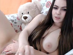 Cute Babe Playing Herself On Webcam