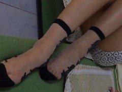 Chinesische Nylon Fußjob