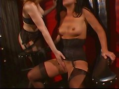 Blonde master gags and fingers brunette slave