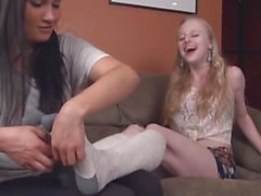 cute blonde toetied tickled