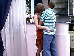 Russian MILF on the floor no condom