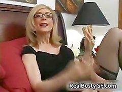 Blonde mom in glasses licking stiff part5