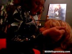 BDSM play in dark basement where horny