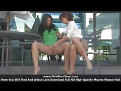 Lesbian lovers Rita and Madeline make a public display of their horniness