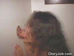 Brunette Slut Sucking Dick At A Glory Hole