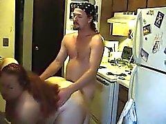 Very жира Wife заниматься сексом на кухне