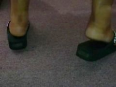 Candid Ebony Feet in Flip Flops at Church