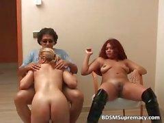 Ebony slut and white chick play in kinky part6