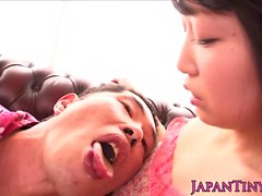 Young asian cutie pissed on by old guy
