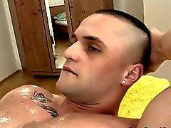 Straighty sucks oiled up masseur