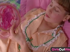 Girls Out West - Carrot in a tight hairy pussy