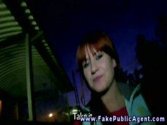 Fake public agent promisses an amateur girl that he will cum on her face