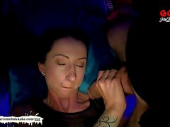 Tattooed Brunette groped and fucked hard - German Goo Girls