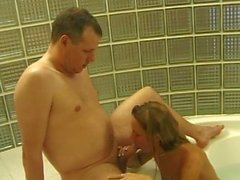 German babe gets dirty in the bath