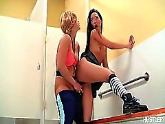 Miko and Nicki get kinky in the restroom