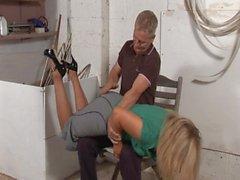 Husband spanks naughty Wife