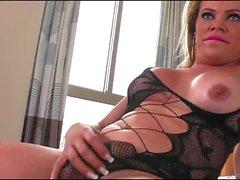 Lusty tranny with big tits gets analyzed