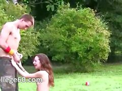 Young horny couple sexing in outdoor