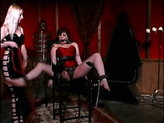 Blonde dominatrix ties up her slave for submission and torture