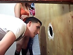 Amateur teens fucks through a gloryhole