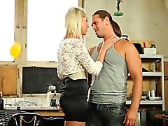 European babe clothed sex
