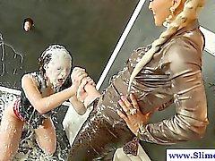 Bukakke loving babes play at gloryhole