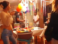 sweetdesire and her gf strip in kitchen while the boys out
