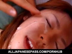 Yuka Sakagami sucks dongs and has hairy crack screwed by them