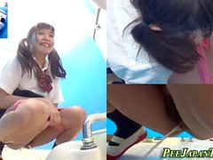 Uniformed asian teens pee