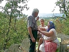 Voyeuristiska Blond gamla paret