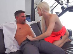 Elsa Jean shows her pink pussy and gives bj
