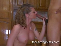 Busty mommy fucking in the kitchen