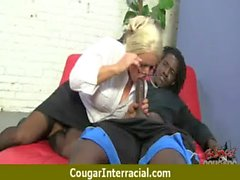 Cougar with Big Tits Seduces Young Black Guy 2