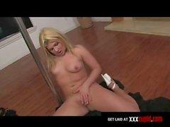 Chubby Blonde Pole-Dances