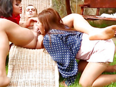 CFNM three-some whores cumswap after sloppy oral-service