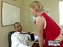 Blonde Cheerleader sucking the principals black cock