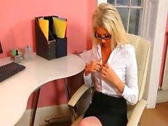 Secretary in sexy stocking teasing alone
