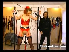 Tied amateur sex slaves whipping