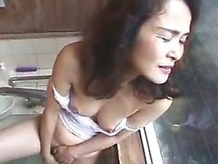 Amateur asian plays with hairy pussy